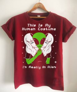 This Is My Human Costume Im Really An Alien Funny Halloween T Shirt 1